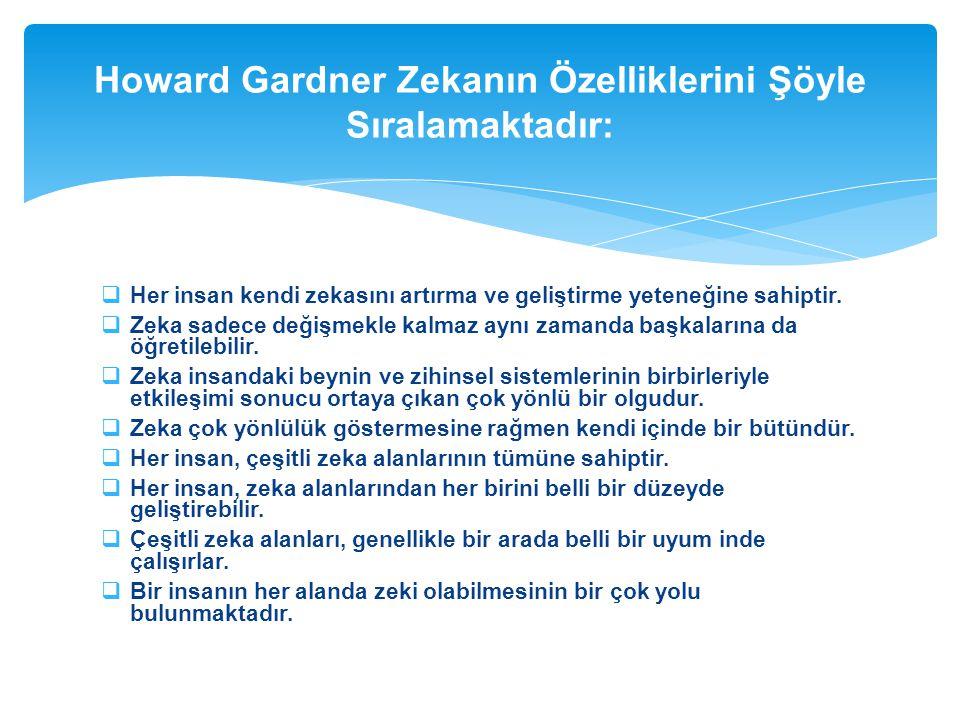 Howard Gardner Zekanın Özelliklerini Şöyle Sıralamaktadır: