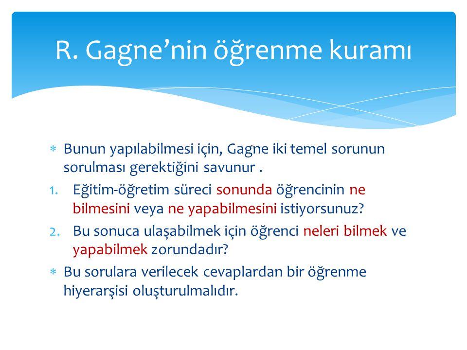R. Gagne'nin öğrenme kuramı
