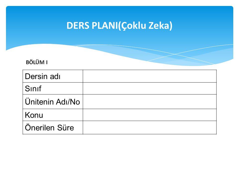DERS PLANI(Çoklu Zeka)