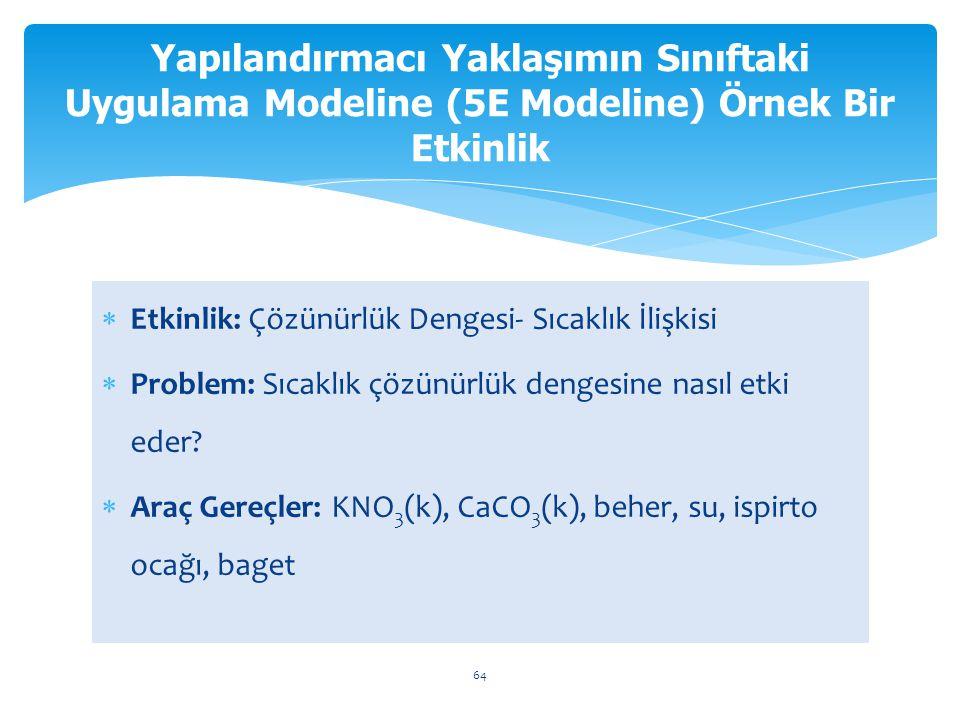 Yapılandırmacı Yaklaşımın Sınıftaki Uygulama Modeline (5E Modeline) Örnek Bir Etkinlik