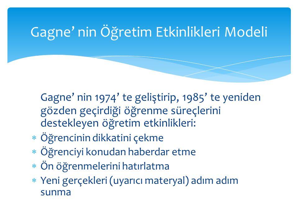 Gagne' nin Öğretim Etkinlikleri Modeli