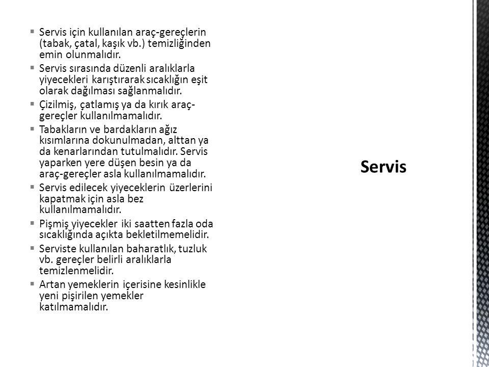 Servis için kullanılan araç-gereçlerin (tabak, çatal, kaşık vb