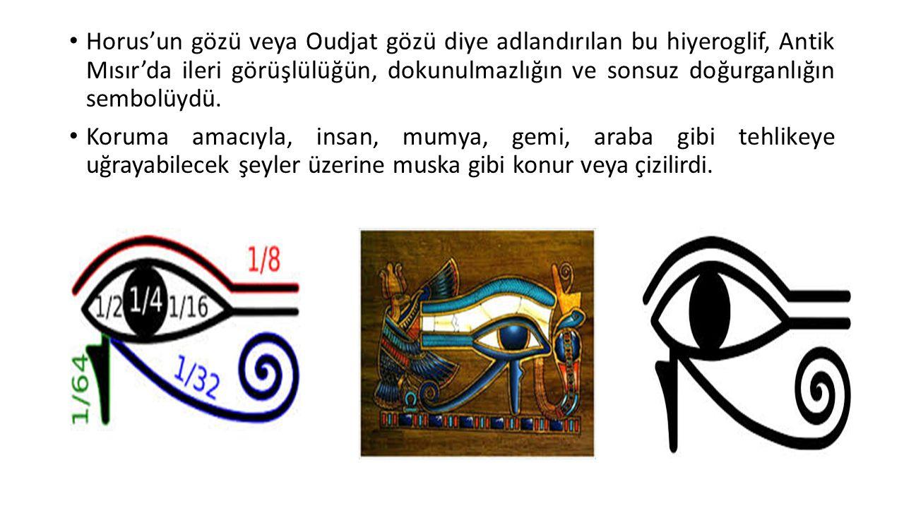 Horus'un gözü veya Oudjat gözü diye adlandırılan bu hiyeroglif, Antik Mısır'da ileri görüşlülüğün, dokunulmazlığın ve sonsuz doğurganlığın sembolüydü.