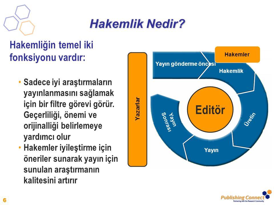 Hakemlik Nedir Editör Hakemliğin temel iki fonksiyonu vardır: