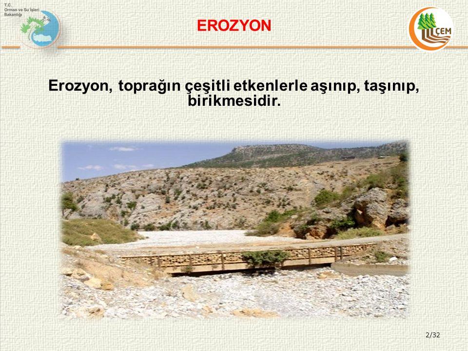 Erozyon, toprağın çeşitli etkenlerle aşınıp, taşınıp, birikmesidir.