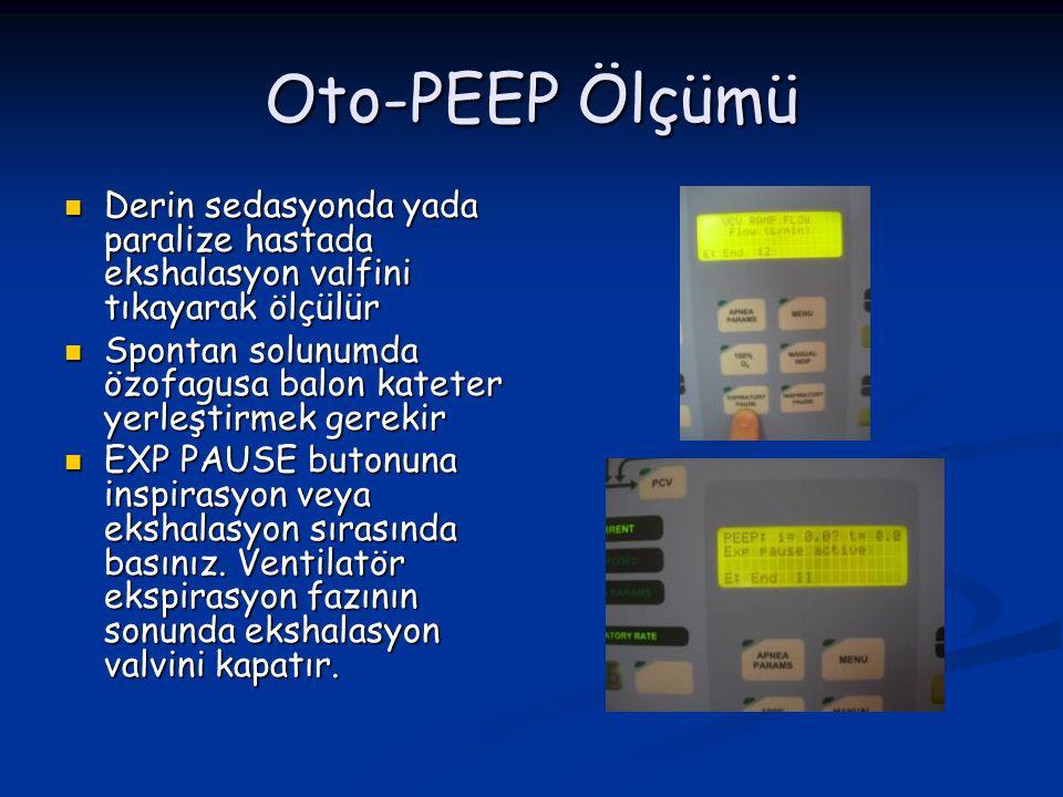 Oto-PEEP Ölçümü Derin sedasyonda yada paralize hastada ekshalasyon valfini tıkayarak ölçülür.