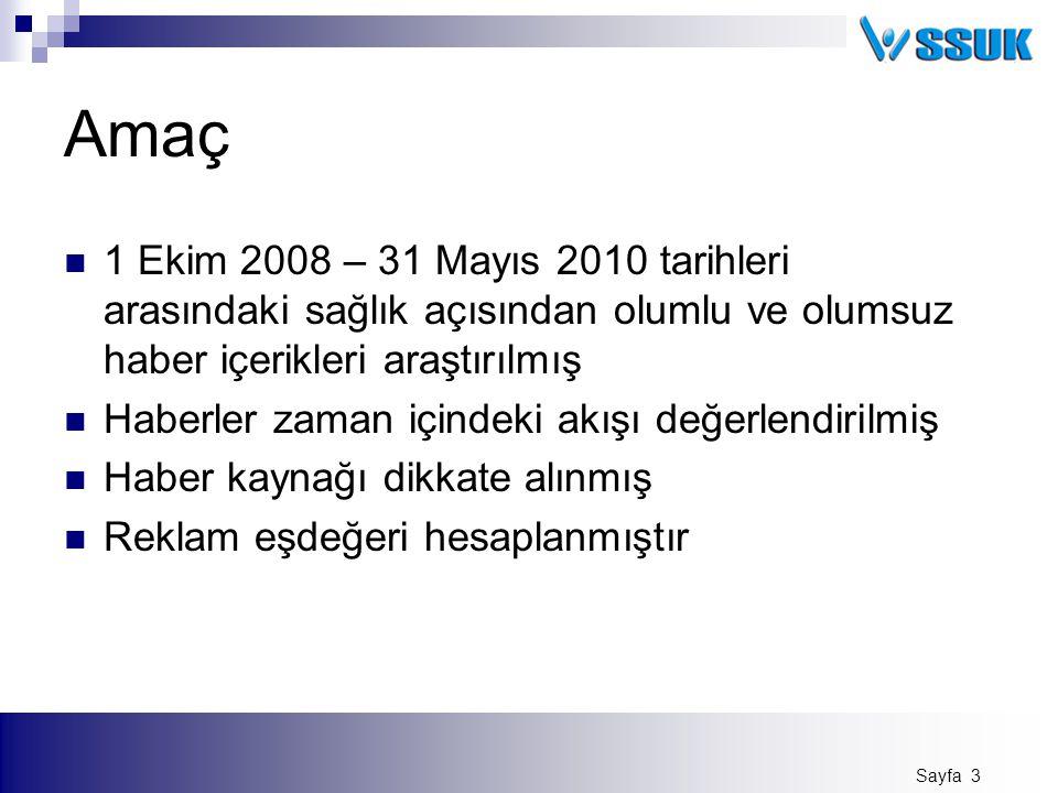 Amaç 1 Ekim 2008 – 31 Mayıs 2010 tarihleri arasındaki sağlık açısından olumlu ve olumsuz haber içerikleri araştırılmış.