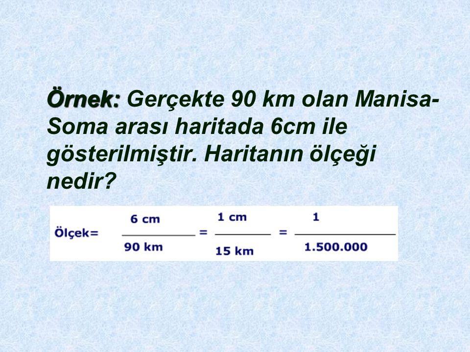 Örnek: Gerçekte 90 km olan Manisa-Soma arası haritada 6cm ile gösterilmiştir.