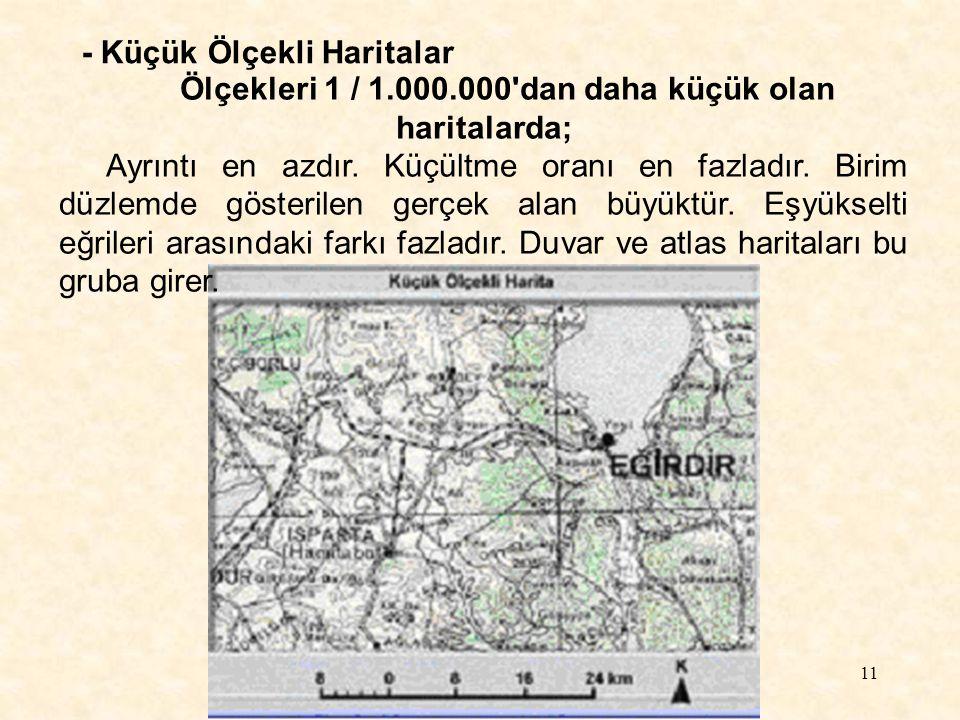 Ölçekleri 1 / 1.000.000 dan daha küçük olan haritalarda;