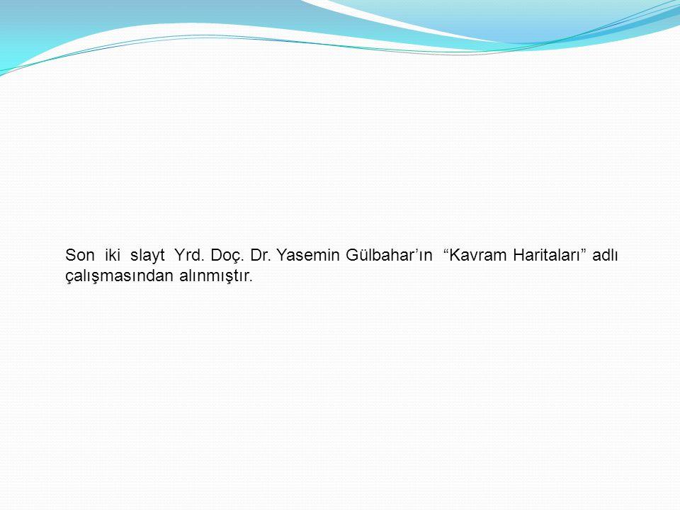 Son iki slayt Yrd. Doç. Dr. Yasemin Gülbahar'ın Kavram Haritaları adlı çalışmasından alınmıştır.