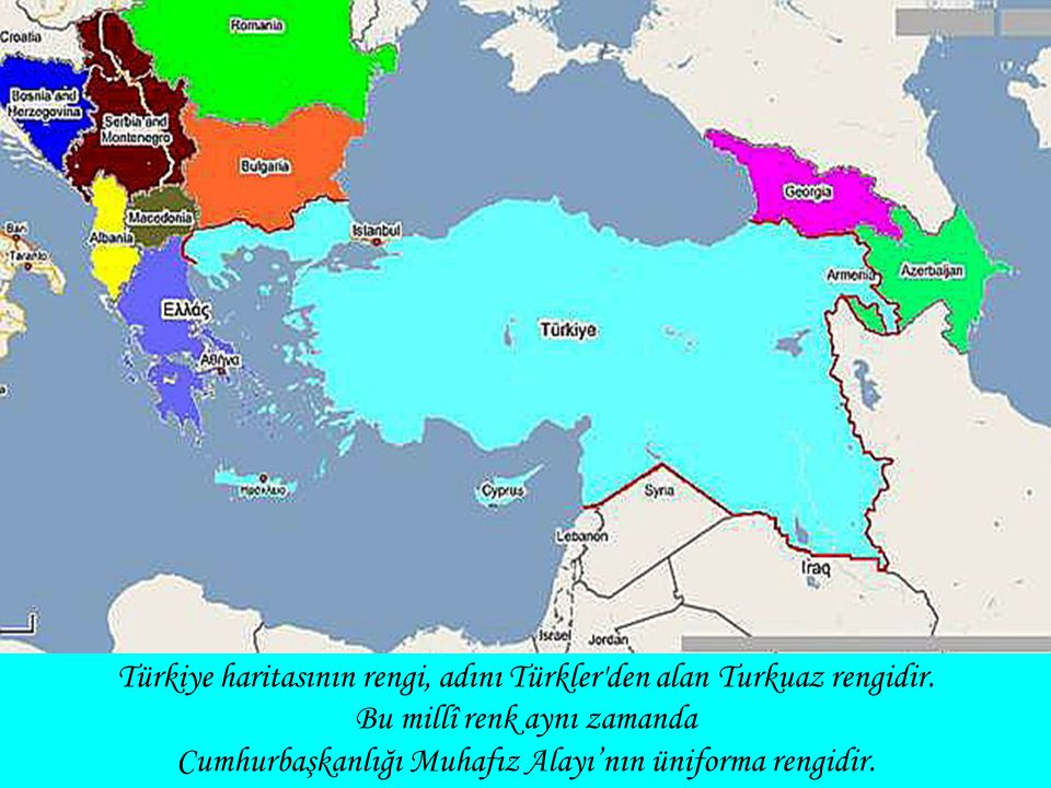 Türkiye haritasının rengi, adını Türkler den alan Turkuaz rengidir