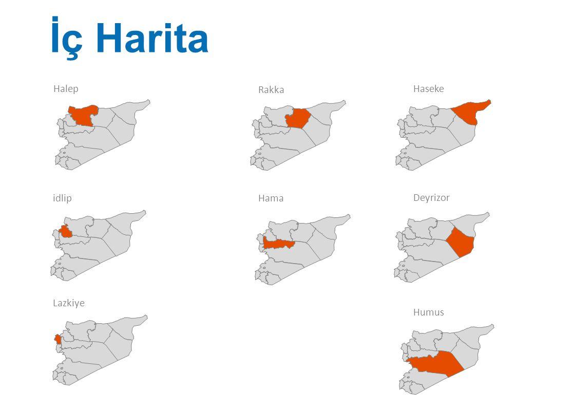 İç Harita Halep Rakka Haseke idlip Hama Deyrizor Lazkiye Humus