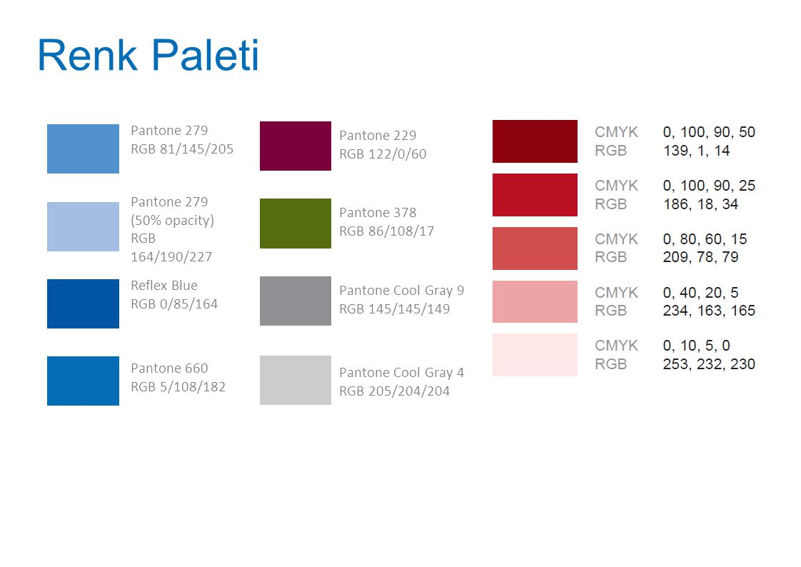 Renk Paleti Pantone 279 Pantone 229 RGB 81/145/205 RGB 122/0/60