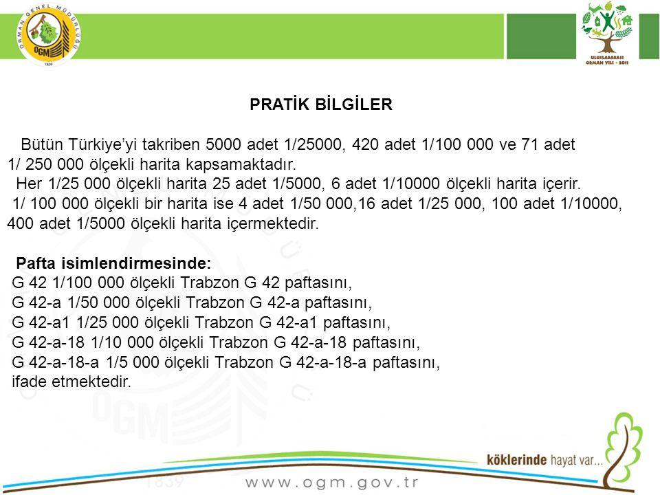 PRATİK BİLGİLER Bütün Türkiye'yi takriben 5000 adet 1/25000, 420 adet 1/100 000 ve 71 adet. 1/ 250 000 ölçekli harita kapsamaktadır.