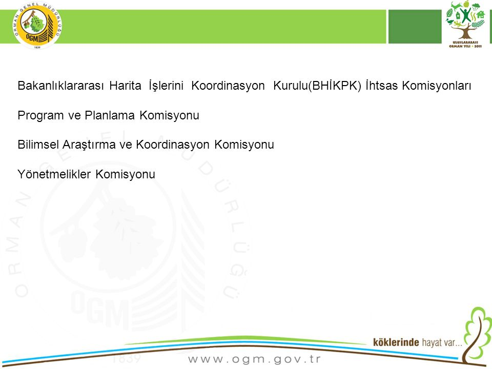 Bakanlıklararası Harita İşlerini Koordinasyon Kurulu(BHİKPK) İhtsas Komisyonları