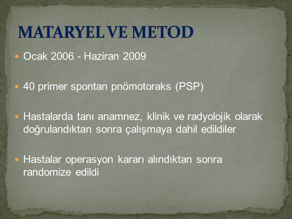 MATARYEL VE METOD Ocak 2006 - Haziran 2009