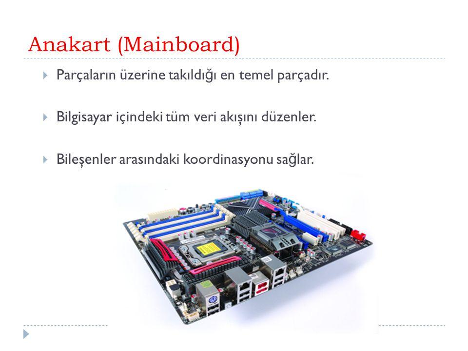 Anakart (Mainboard) Parçaların üzerine takıldığı en temel parçadır.