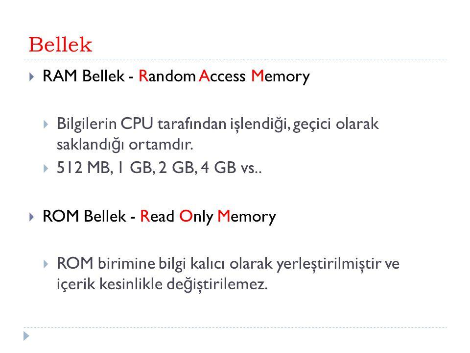 Bellek RAM Bellek - Random Access Memory