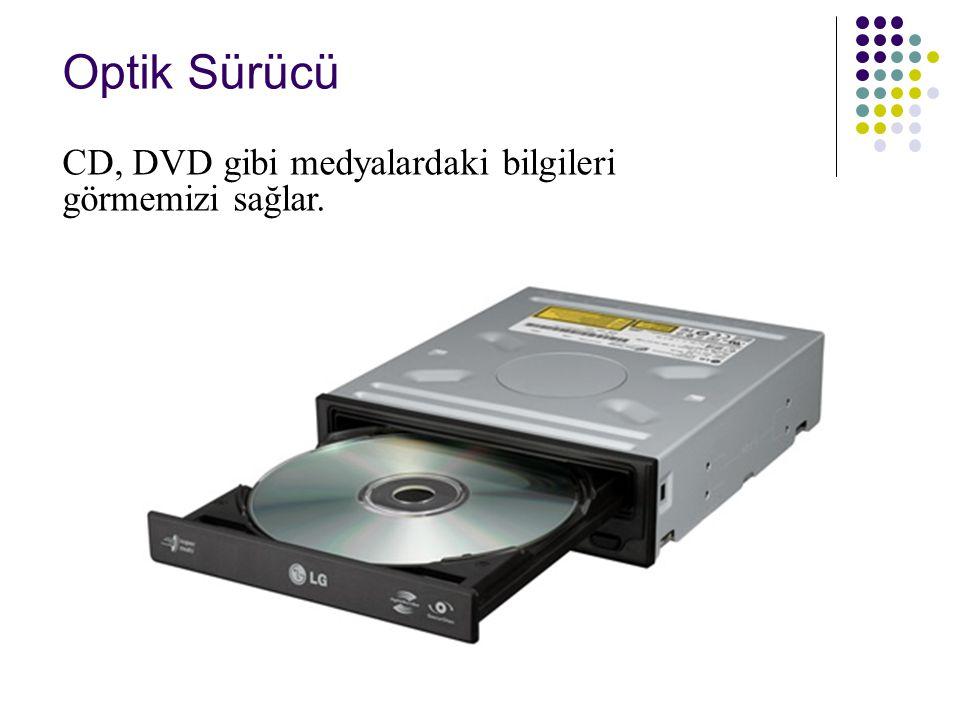 Optik Sürücü CD, DVD gibi medyalardaki bilgileri görmemizi sağlar.