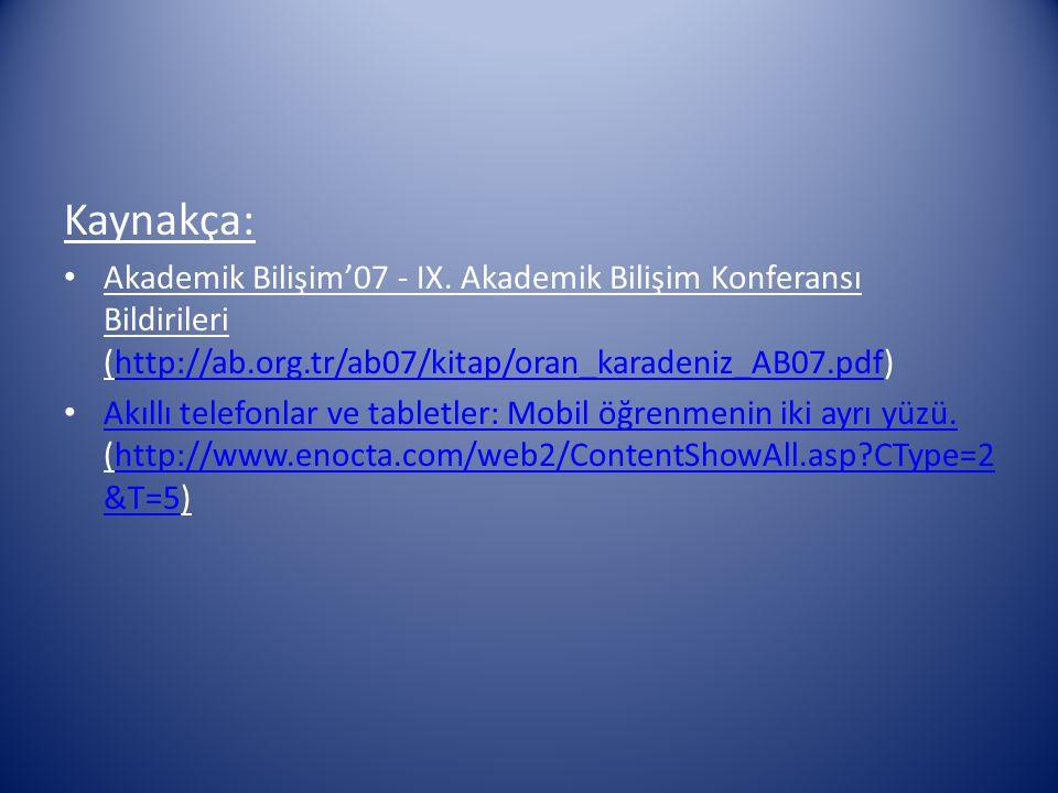 Kaynakça: Akademik Bilişim'07 - IX. Akademik Bilişim Konferansı Bildirileri (http://ab.org.tr/ab07/kitap/oran_karadeniz_AB07.pdf)