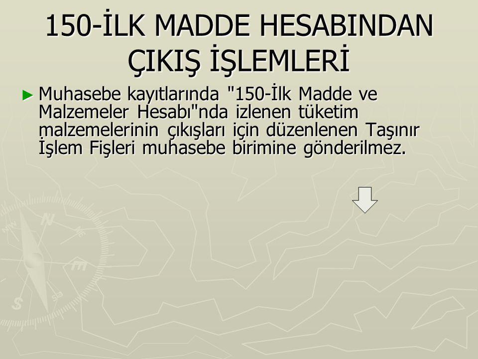 150-İLK MADDE HESABINDAN ÇIKIŞ İŞLEMLERİ