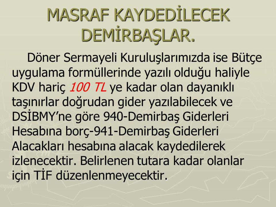 MASRAF KAYDEDİLECEK DEMİRBAŞLAR.