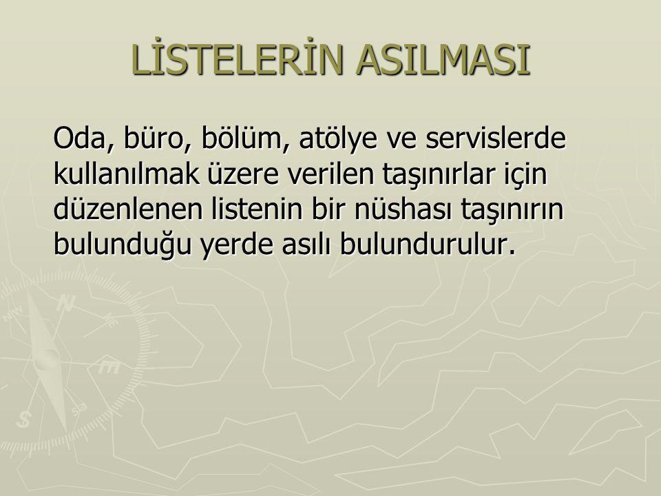 LİSTELERİN ASILMASI