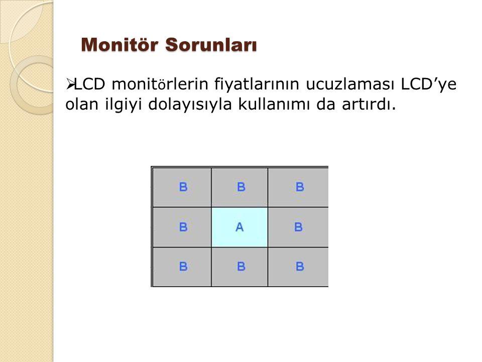 Monitör Sorunları LCD monitörlerin fiyatlarının ucuzlaması LCD'ye olan ilgiyi dolayısıyla kullanımı da artırdı.