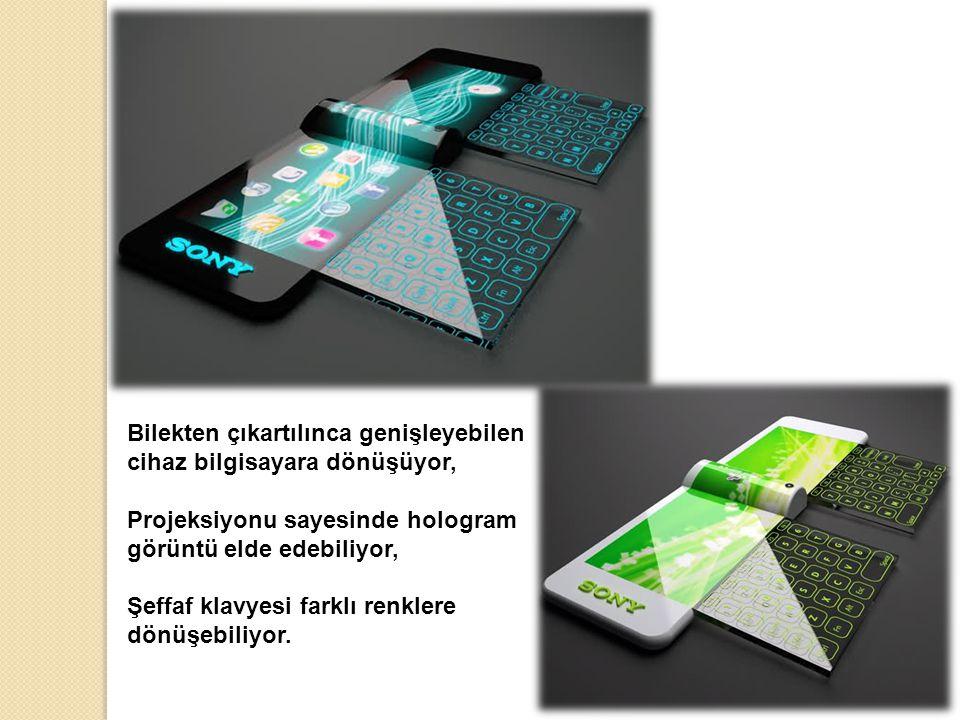 Bilekten çıkartılınca genişleyebilen cihaz bilgisayara dönüşüyor, Projeksiyonu sayesinde hologram görüntü elde edebiliyor, Şeffaf klavyesi farklı renklere dönüşebiliyor.