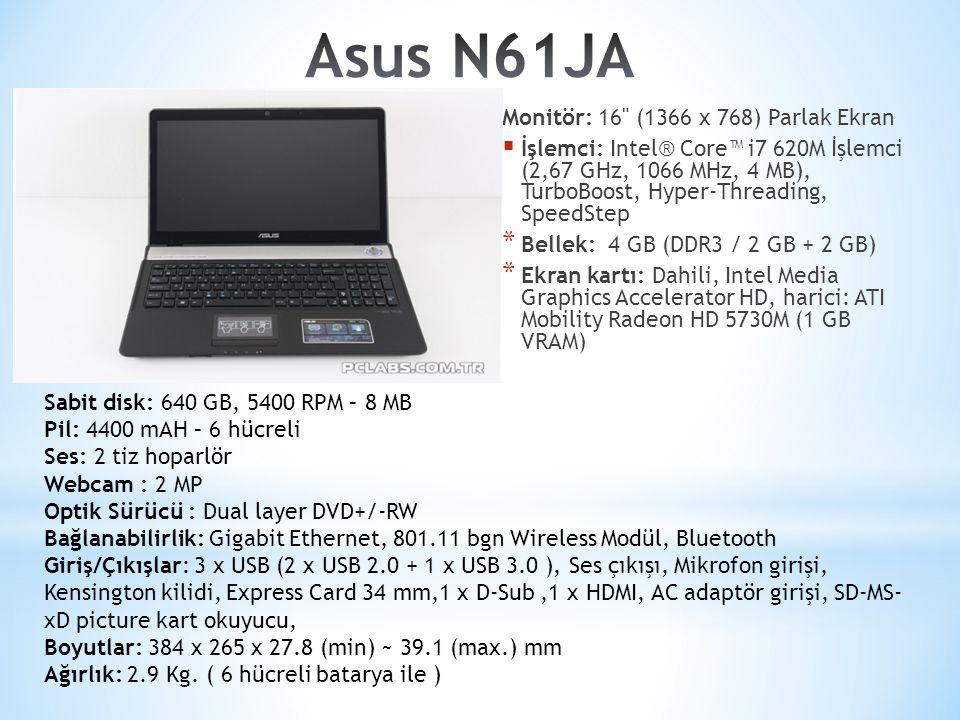Asus N61JA Monitör: 16 (1366 x 768) Parlak Ekran