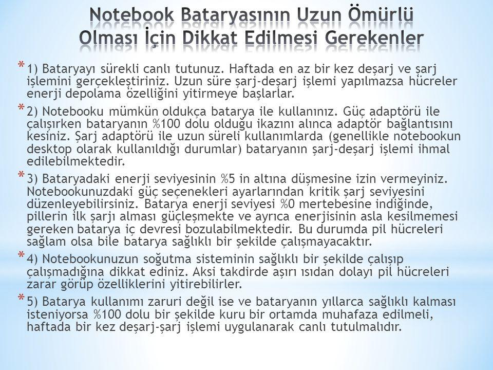 Notebook Bataryasının Uzun Ömürlü Olması İçin Dikkat Edilmesi Gerekenler
