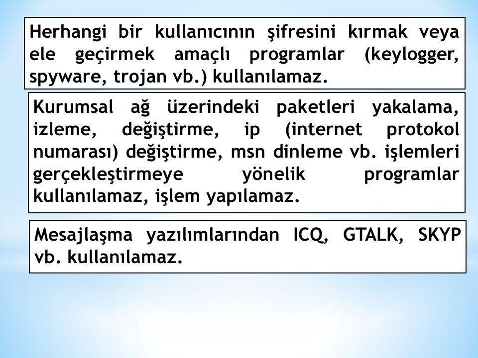 Herhangi bir kullanıcının şifresini kırmak veya ele geçirmek amaçlı programlar (keylogger, spyware, trojan vb.) kullanılamaz.