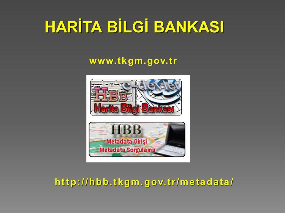 HARİTA BİLGİ BANKASI www.tkgm.gov.tr http://hbb.tkgm.gov.tr/metadata/