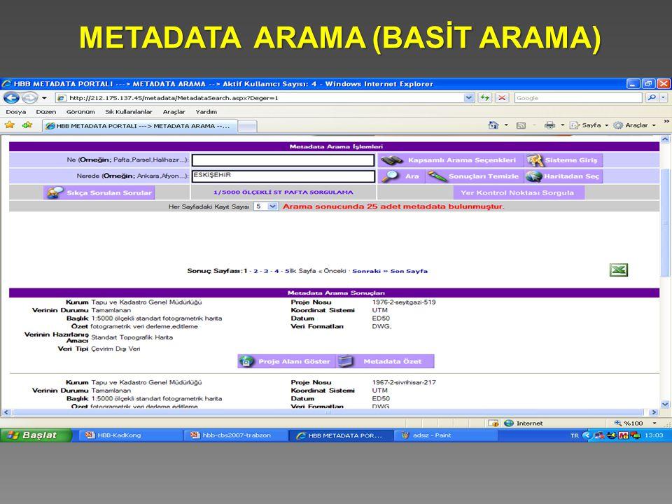 METADATA ARAMA (BASİT ARAMA)