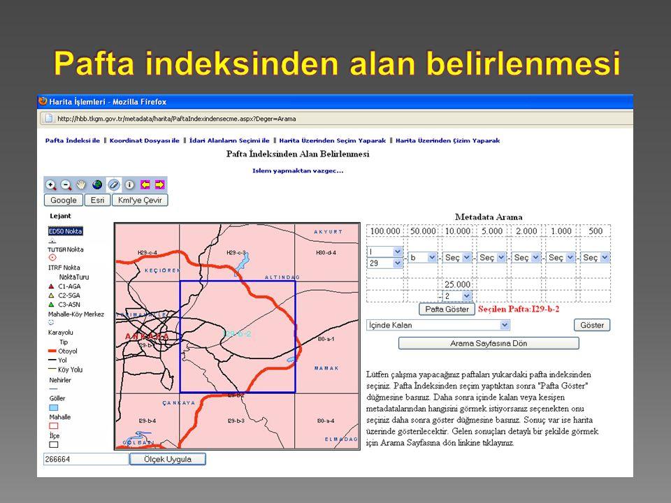 Pafta indeksinden alan belirlenmesi