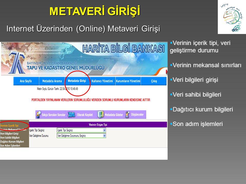 METAVERİ GİRİŞİ Internet Üzerinden (Online) Metaveri Girişi