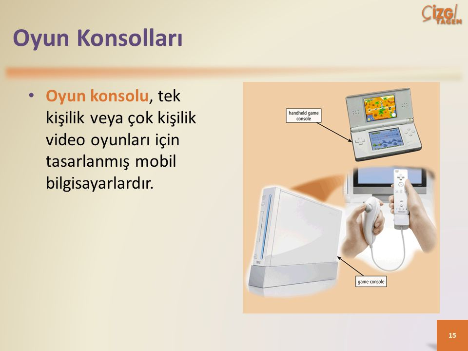 Oyun Konsolları Oyun konsolu, tek kişilik veya çok kişilik video oyunları için tasarlanmış mobil bilgisayarlardır.