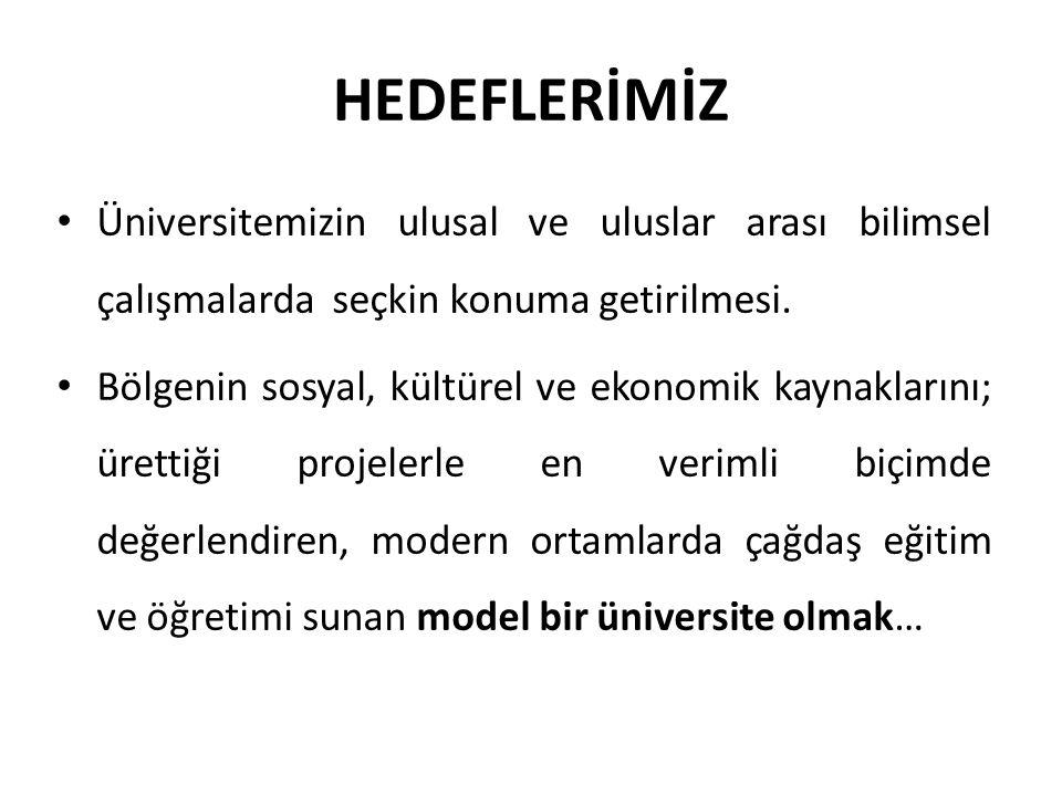 HEDEFLERİMİZ Üniversitemizin ulusal ve uluslar arası bilimsel çalışmalarda seçkin konuma getirilmesi.