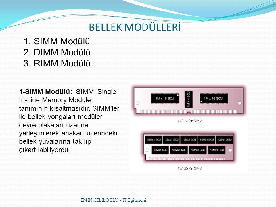 BELLEK MODÜLLERİ SIMM Modülü DIMM Modülü RIMM Modülü