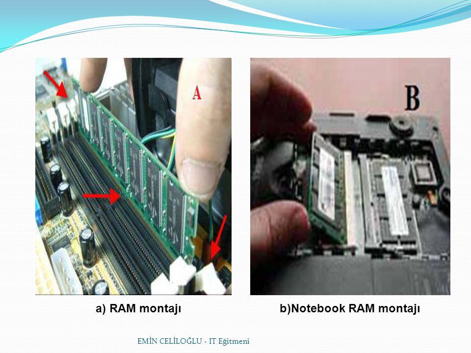 a) RAM montajı b)Notebook RAM montajı