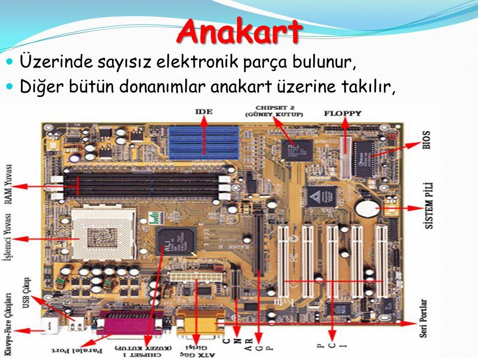 Anakart Üzerinde sayısız elektronik parça bulunur,