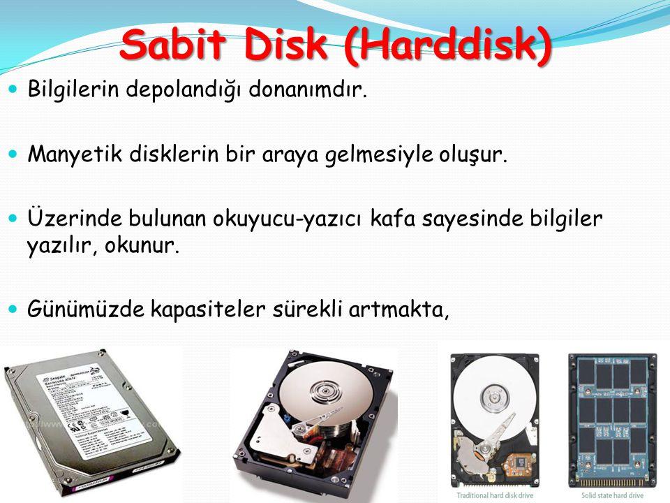 Sabit Disk (Harddisk) Bilgilerin depolandığı donanımdır.