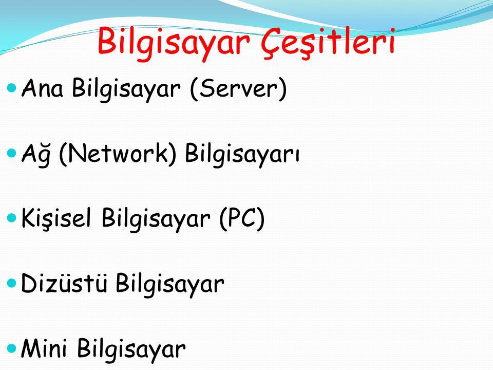 Bilgisayar Çeşitleri Ana Bilgisayar (Server) Ağ (Network) Bilgisayarı