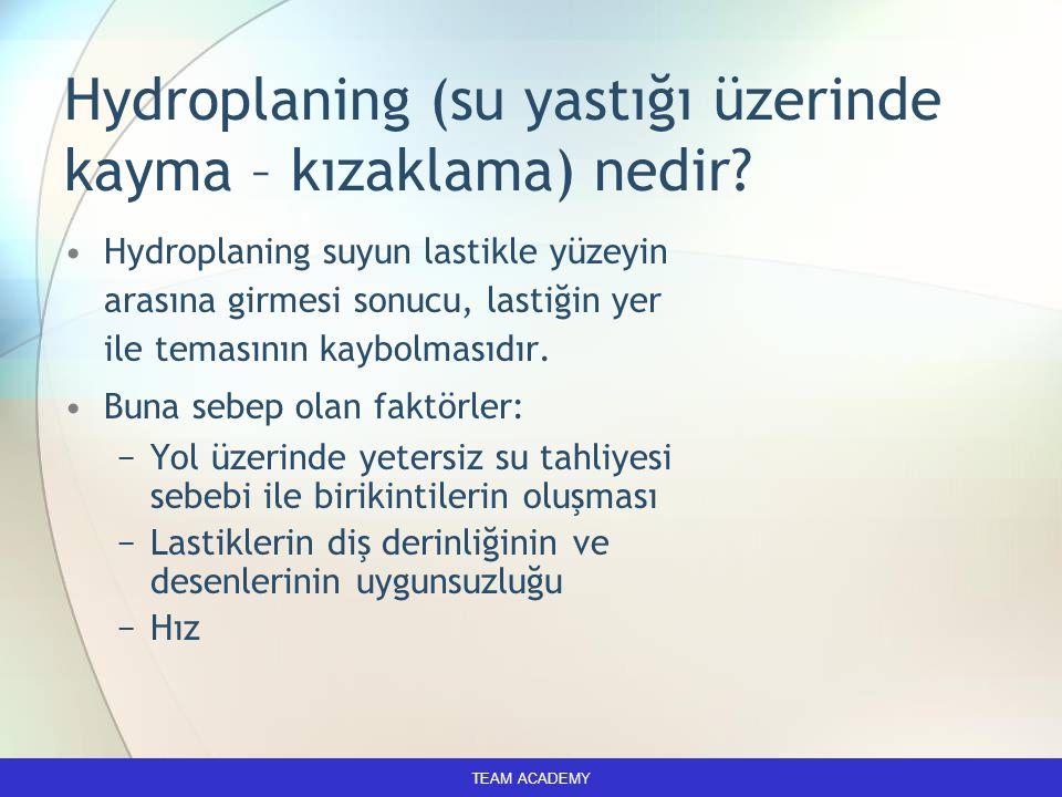 Hydroplaning (su yastığı üzerinde kayma – kızaklama) nedir