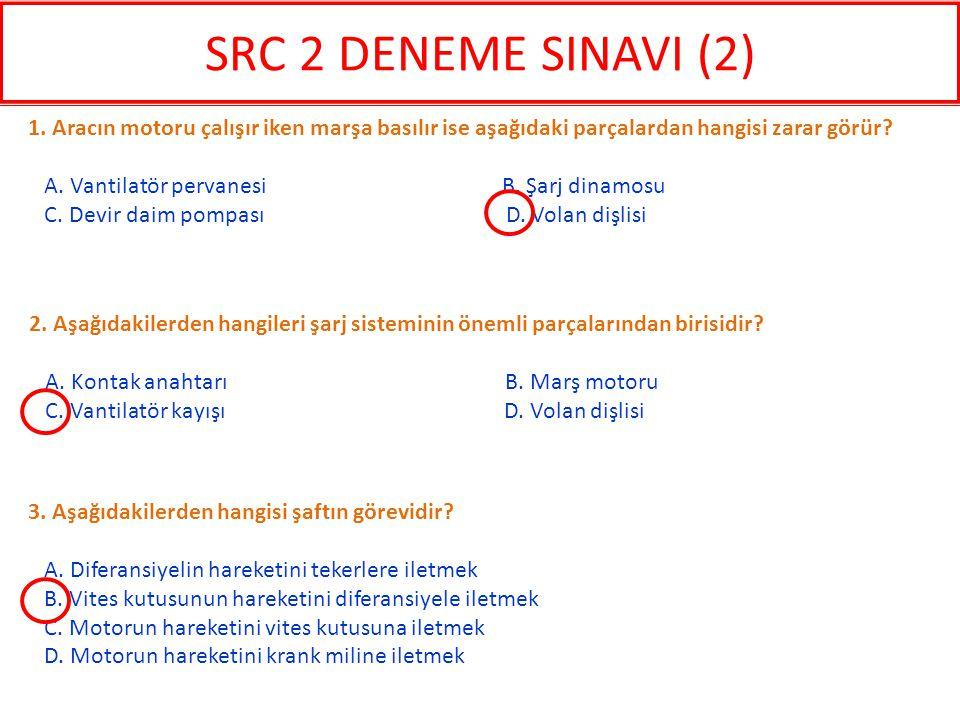 SRC 2 DENEME SINAVI (2) 1. Aracın motoru çalışır iken marşa basılır ise aşağıdaki parçalardan hangisi zarar görür