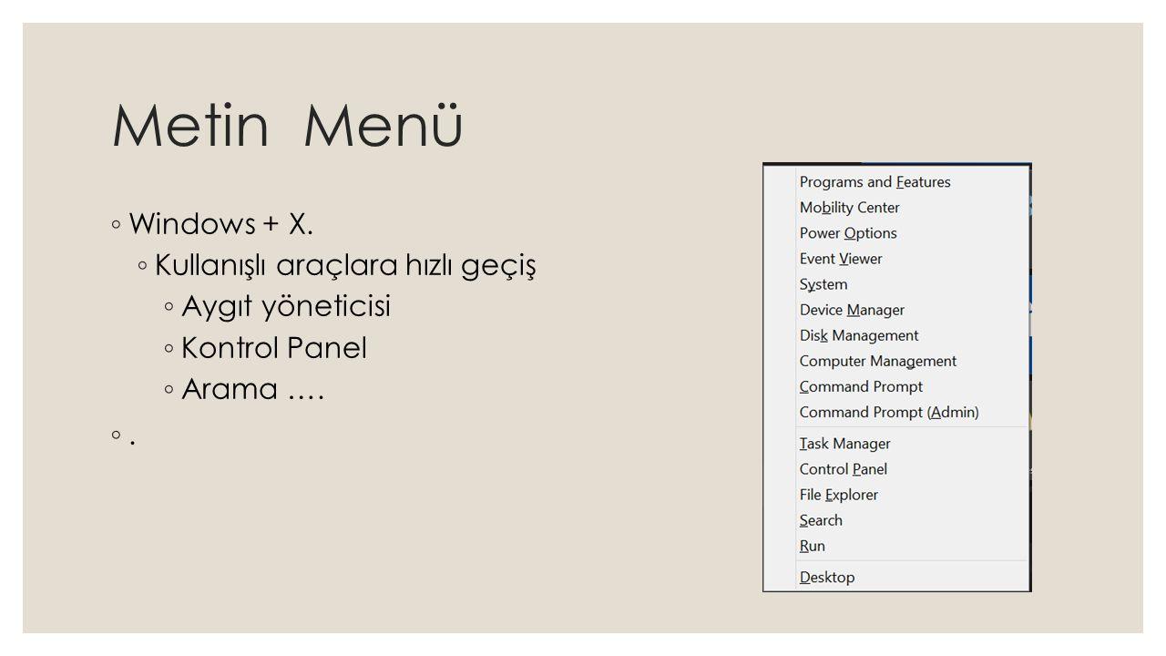 Metin Menü Windows + X. Kullanışlı araçlara hızlı geçiş