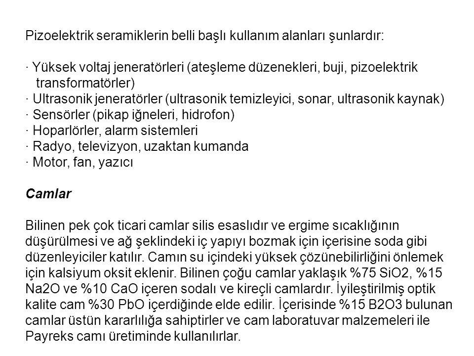 Pizoelektrik seramiklerin belli başlı kullanım alanları şunlardır: