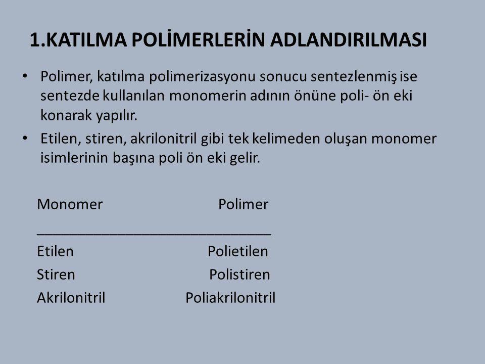 1.KATILMA POLİMERLERİN ADLANDIRILMASI