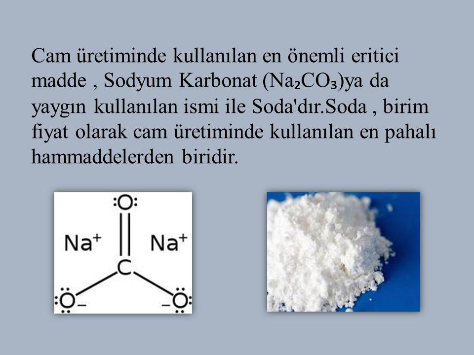 Cam üretiminde kullanılan en önemli eritici madde , Sodyum Karbonat (Na₂CO₃)ya da yaygın kullanılan ismi ile Soda dır.Soda , birim fiyat olarak cam üretiminde kullanılan en pahalı hammaddelerden biridir.