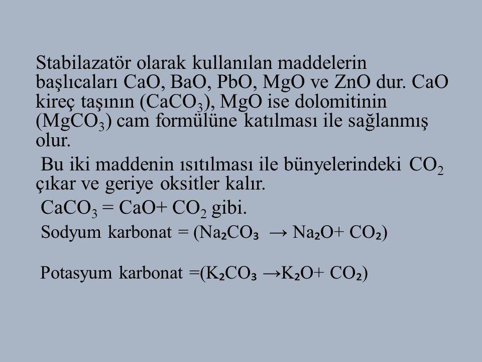 Sodyum karbonat = (Na₂CO₃ → Na₂O+ CO₂)